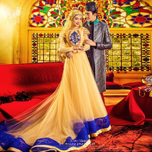 Vestido Noiva Muslim Wedding Dress Hijab Long Sleeve Arabic Wedding Gown Tulle 2016 A line Gold Wedding Dresses Robe De Mariage
