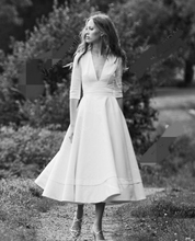 1905's Vintage Ivory Half Sleeve Wedding Dress Summer Bridal Dresses Tea Length Wedding Gowns 2019 V-neck Vestidos de Noiva v neck half sleeve tea length dress