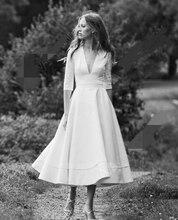 1905's Vintage Ivory Half Sleeve Wedding Dress Summer Bridal Dresses Tea Length Wedding Gowns 2020 V-neck Vestidos de Noiva v neck half sleeve tea length dress