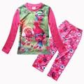 New Trolls Girls Pajama Sets Spring Cartoon Cotton Clothing Set For Girls Long Sleeve Shirt Pants 2 Pieces Kids Clothing