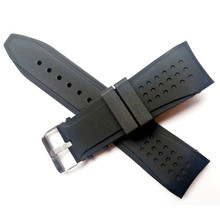 Free shipping 24mm rad Black silicone watch with rubber strap watch parts watch band Buckle + Tools все цены