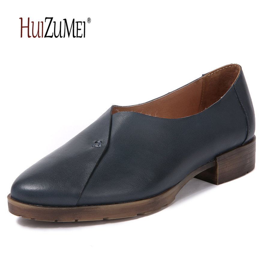HUIZUMEI new genuine leather single shoes  casual pointed toe women retro pumps huizumei new genuine leather women s