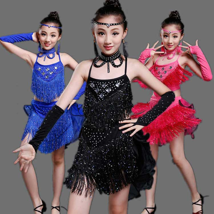 цена  Children 's Latin dance performance clothing Girl' s dance performances summer Vestidos  онлайн в 2017 году