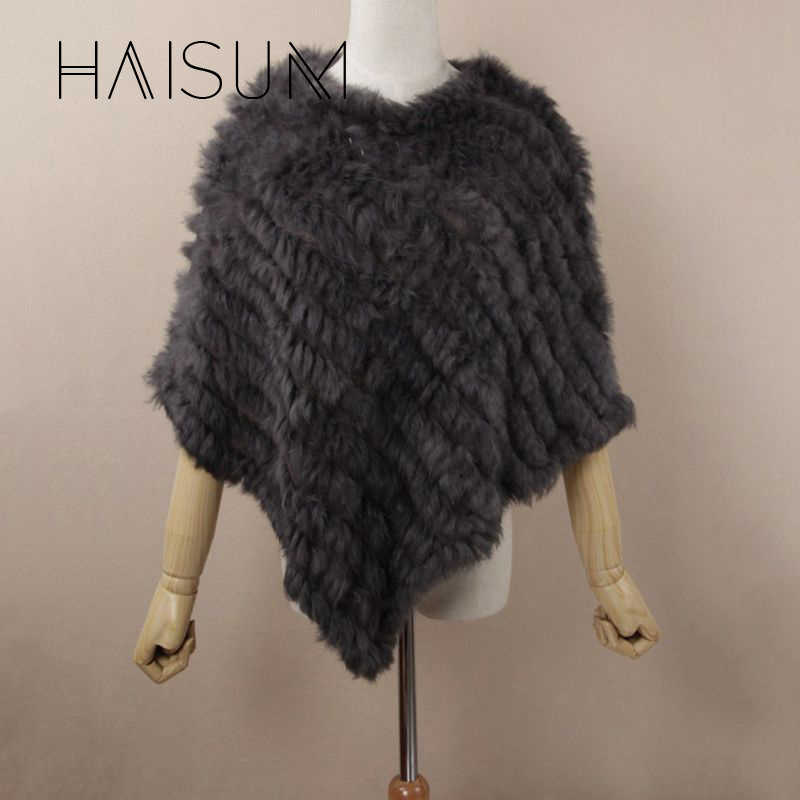 Nuovo inverno della ragazza delle donne poncho Knit della pelliccia del coniglio Scialle poncho rubato scrollata di spalle del capo veste tippet wrap nero bianco rosa di colore hn83