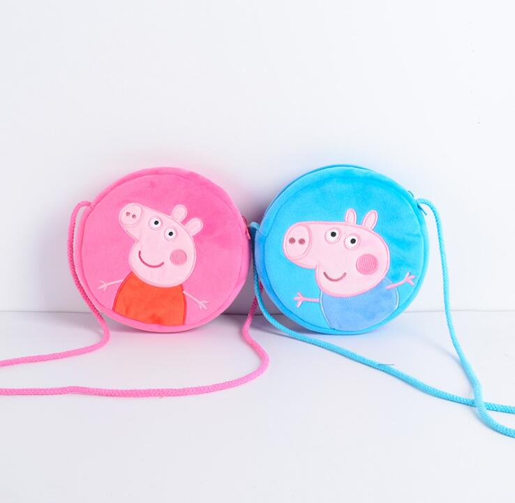 1pcs 16CM Genuine plush pig bag Pink Peppa Pig George Backpack hot sale Animal satchel For Children's haversack