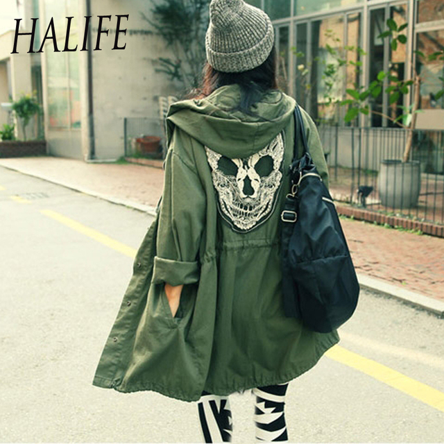 Punk Ruck Army Green Skull Head Printed Hooded Thin Trench Coat For Women Girls Long Sleeve Outerwear Rain Coats Casaco Feminino