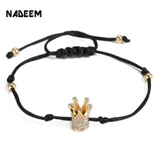 NADEEM Top Brand Fashion Luxury Micro Pave CZ Crown Charm Bracelet Women Mens Black Rope Braided Macrame Adjustable