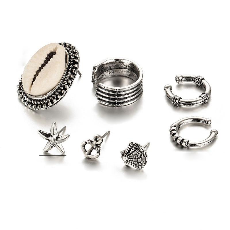 2e175616703a1 7 أجزاء الأقراط قذيفة مجموعات نمط الفضة اللون العرقية بوهيميا قرط كبس أقراط  للنساء أقراط مجوهرات