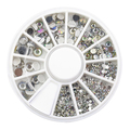 2 Packs New Hot Sale 5 Sizes White Multicolor Acrylic Nail Art Decoration Glitter Rhinestones