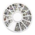 24 Packs New Hot Sale 5 Sizes White Multicolor Acrylic Nail Art Decoration Glitter Rhinestones