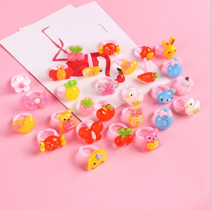 12pcs Ring For Children Jewelry Fashion Colored Multicolor Ring Cute Girls Gifts  Lovely Fruit Scrub Animal Princess Suit Kinds 1