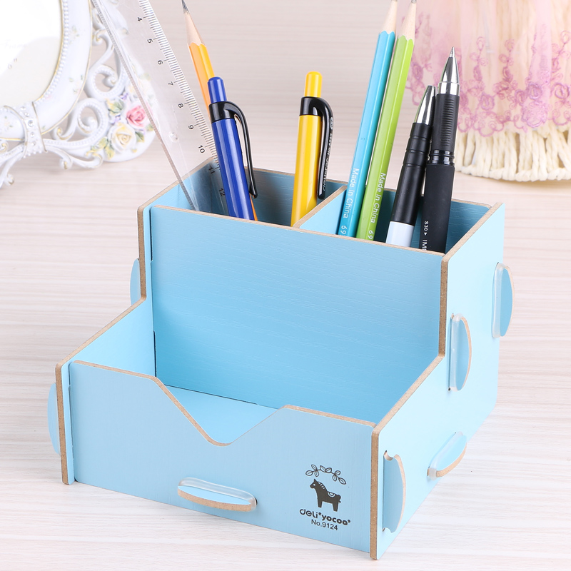 Deli Assembled Wood pencil case pen vase Box Diy Pen Makeup Brush Holder Stationery Desk ...
