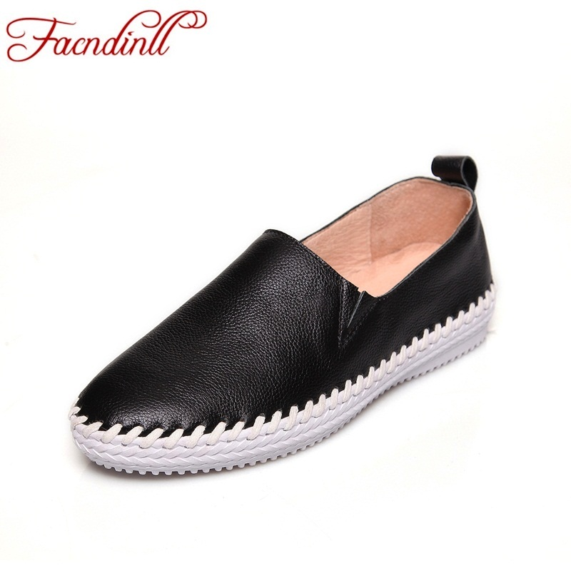 FACNDINLL 2018 new spring autumn women's genuine leather flats casual shoes female dress flat woman loafers leather black shoes facndinll genuine leather sandals for