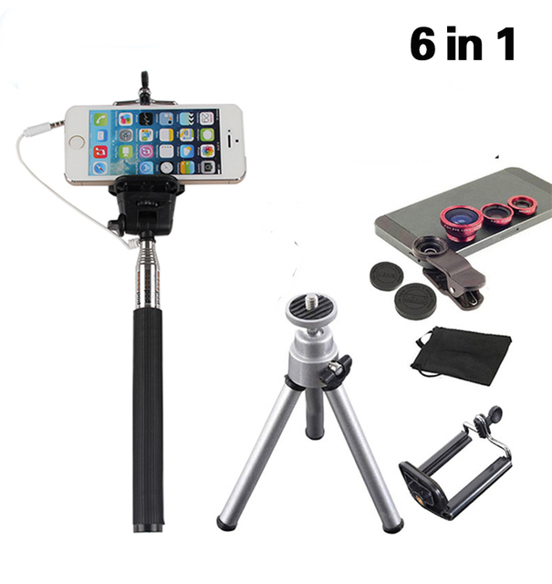 6in1 cable selfie stick con soporte trípode 3in1 clip en cámara Kit de lentes de ojo de Pez 0.67 lente Macro para el Teléfono Celular JZS06