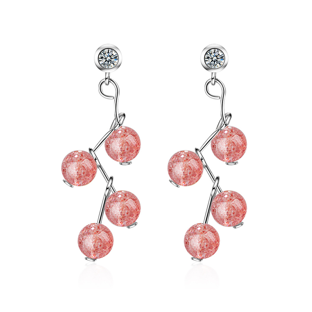 New arrival 925 sterling silver fashion pink Strawberry Quartz crystal ladies stud earrings jewelry wholesale Anti allergy gift in Stud Earrings from Jewelry Accessories