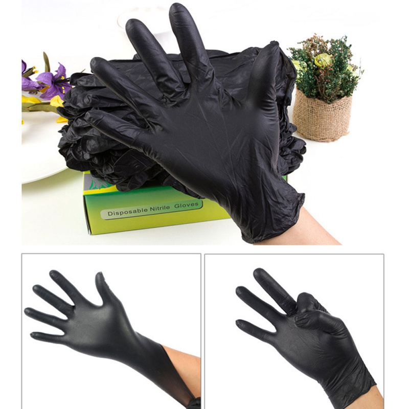20Pcs/Set New Rubber Disposable Mechanic Nitrile Gloves Universal Powder Free Comfortable Black Glove For Auto Detail Car Clean