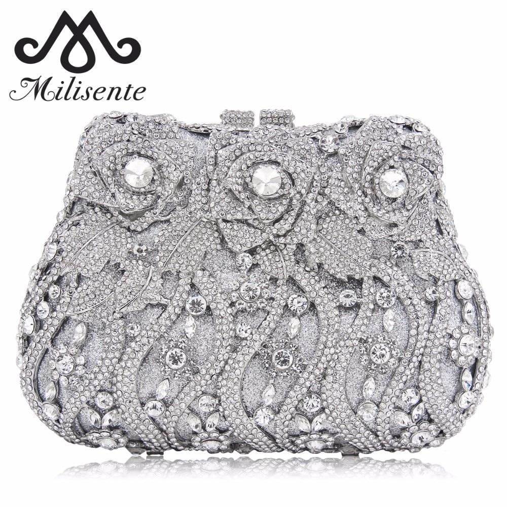 Milisente Ladies Flower Evening Bags Women Crystal Bag Female Wedding Clutch Socialite Style Party Purse цена