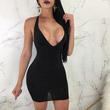 Summer New stylish sexy dress low vhest deep V-neck Camisole Dress Nightclub Sexy Reveal Back Bandage Package Hip dress JZ362 недорого