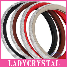 Ladycrystal Full Rhinestone Auto Car Steering Wheel Cover 38cm General Soft Anti-slip Car Steering Cover For Girls Ladies