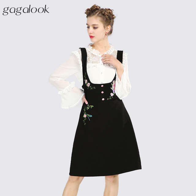 Gagalook Women 2 Two Piece Set Plus Size Embroidered Pinafore Dress