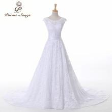 PoemsSongs באיכות גבוהה קו שווי שרוול אלגנטי תחרה חתונה שמלות 2020 חדש כלות שמלות vestidos דה novia גלימת דה mariage