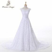 PoemsSongs yüksek kaliteli bir çizgi cap sleeve zarif dantel gelinlik 2020 yeni gelinler elbiseler vestidos de novia robe de mariage