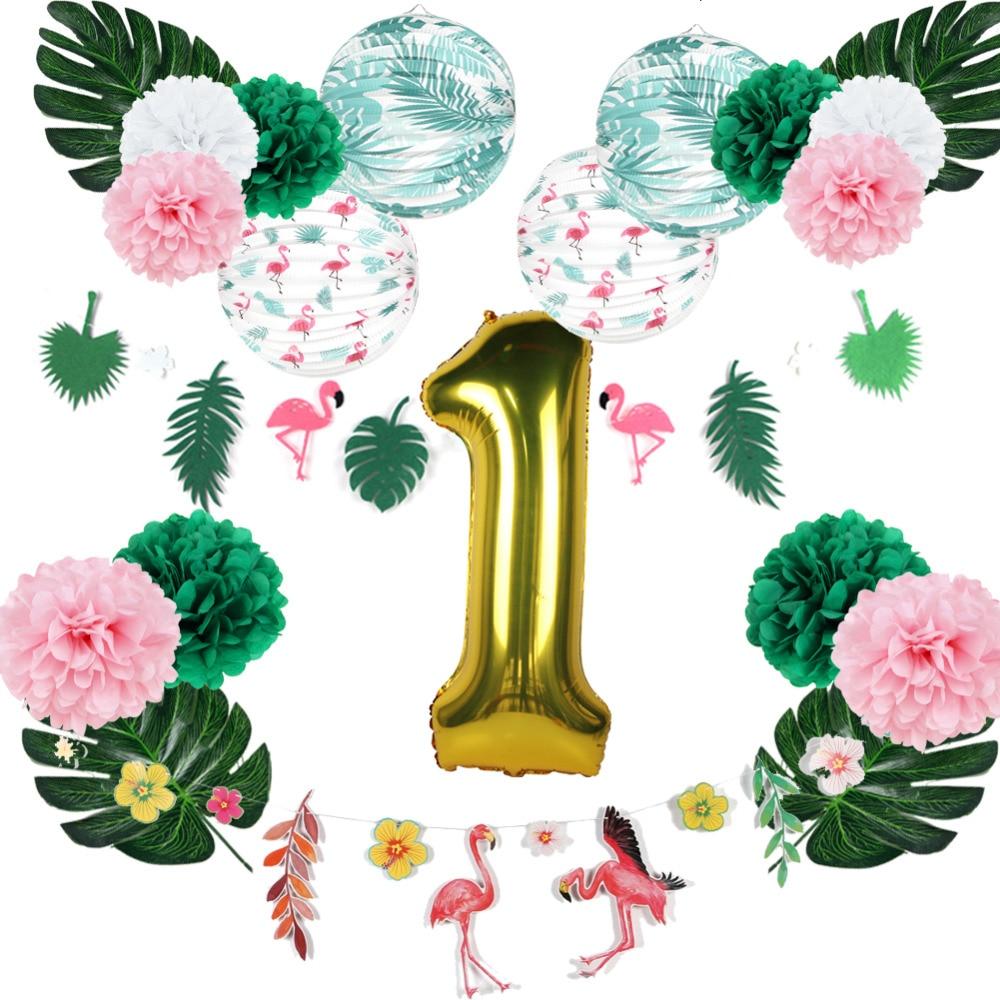 8311b1671ef9cb Flamingo Fiesta 1er anniversaire partie décoration Set Palm feuilles ...