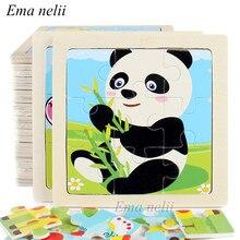 9 pedaço de pequeno quebra-cabeça de madeira bebê menino menina aprendizagem animais/veículo cartoon padrão brinquedos educativos para crianças