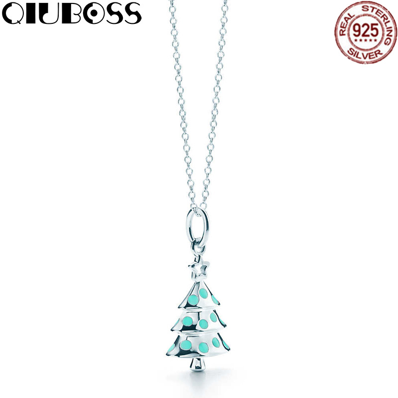 цена QIUBOSS New 925 Sterling Silver Christmas Tree Pendant Christmas Gifts Valentine's Day Birthday Gifts Women Jewelry Eternal Love