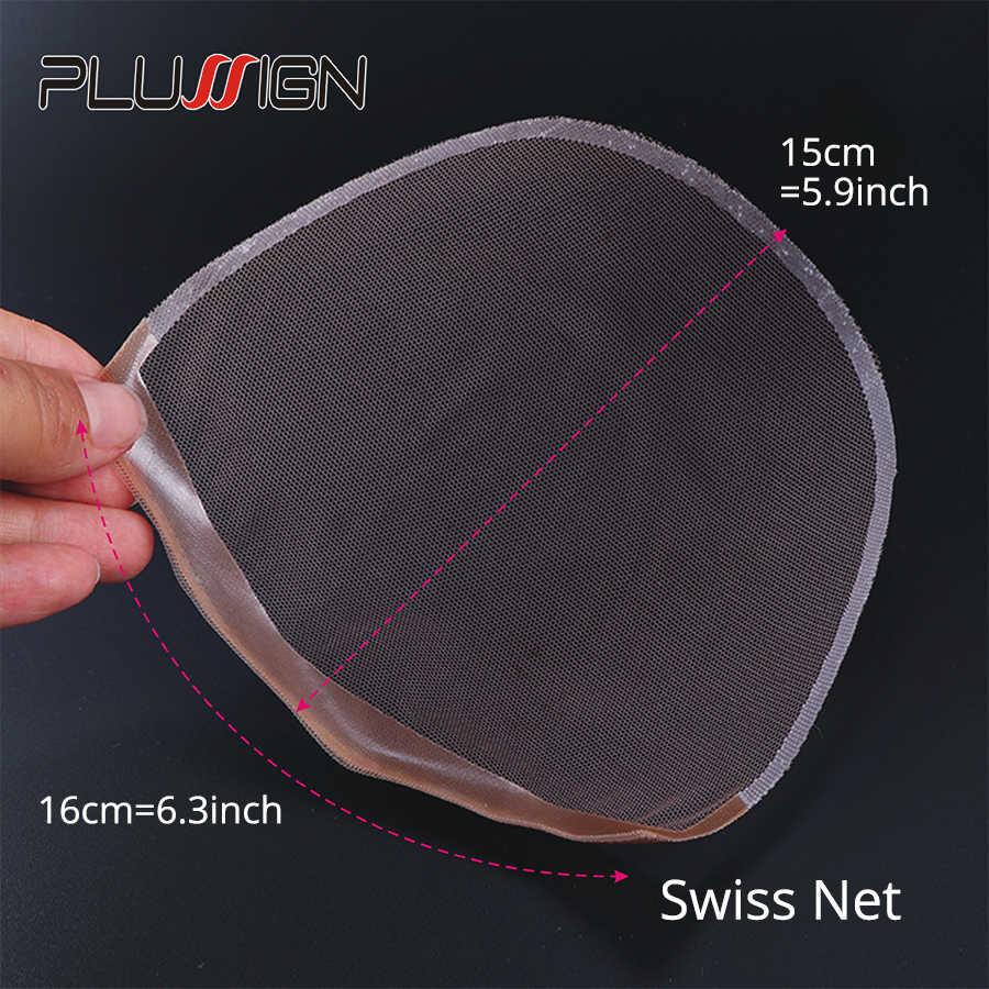 Plussign 1 adet İsviçre dantel kapatma Frontal taban kahverengi el dokuması saç Net parça dantel yapmak için peruk kap kapatma peruk aksesuar