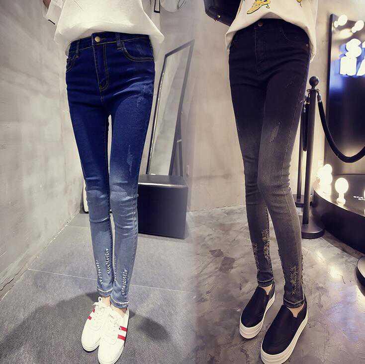 #1337 Pantalon femme slim jeans Pantalones mujer jeans Skinny Distressed jeans women Fashion Denim pants Jeans destroyed women