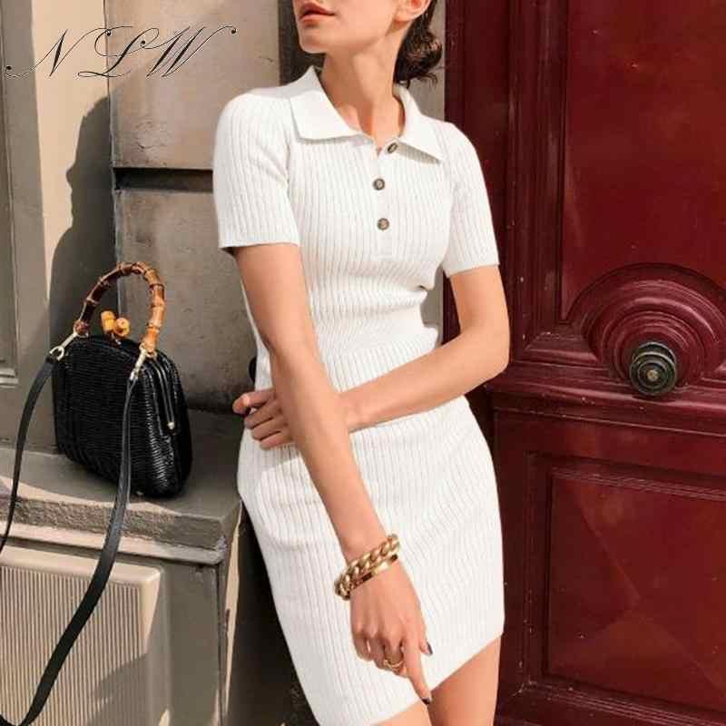 NLW blanc tricoté pull robe 2019 femmes automne hiver Bandage court Polo robes manches côtelées moulante Mini tenue décontractée