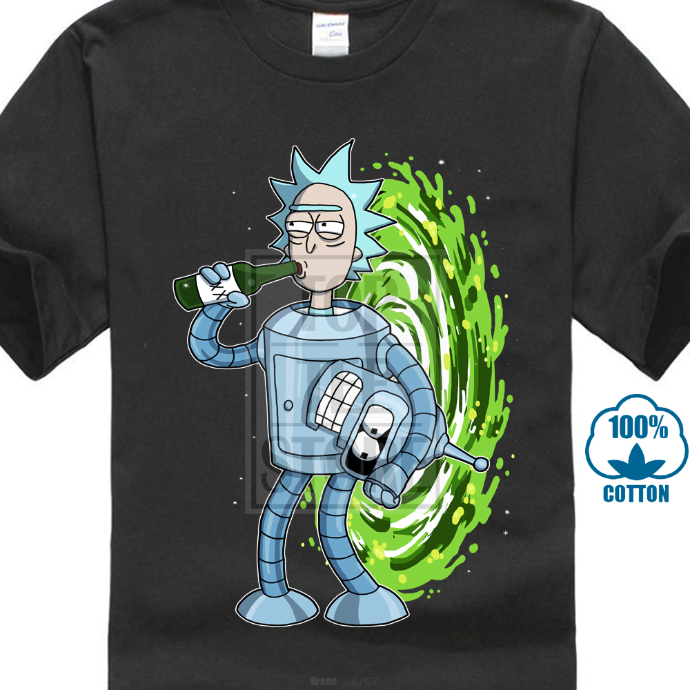 Rick And Morty Futurama Combo Rick Sanchez Bender New Cotton   T     Shirt   S 5Xl 100% Cotton Men Women   T     Shirt   Tees Custom