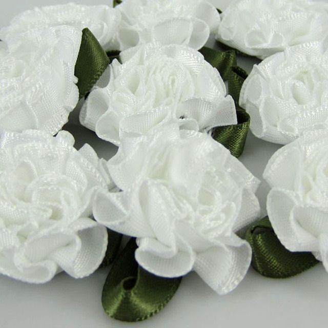 "30pcs Handmade 1"" White Satin Carnation Flowers Satin leaf ribbon Appliques For Sewing Wedding Hair Accessories 25mm"