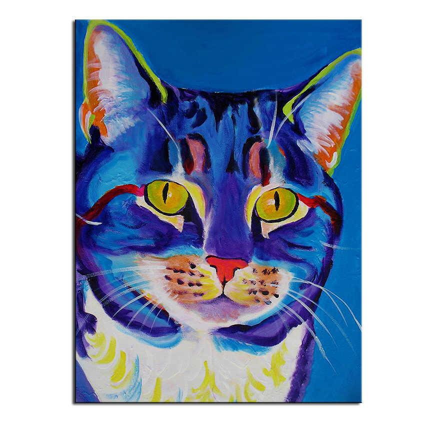 הדפס ענק שמן ציור קיר ציור חתול ליידי רוח בית דקורטיבי אמנות תמונה לסלון paintng אין מסגרת