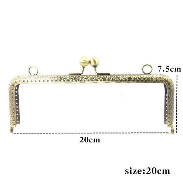 LIONSEN 6.5/7.5/8.5/10.5/12.5/15/18/20cm DIY Metal square Frame Purse Handle Coin Bags Metal Kiss Clasp Lock Frame Accessories 3