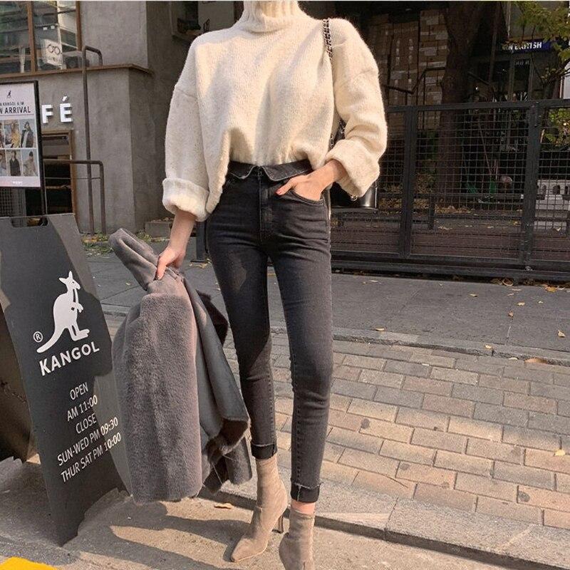 Spring Summer Stretch Flanging Denim Jeans Women Jeggings Tassel High Waist Pants Capris Female Skinny Pencil Jeans 2019