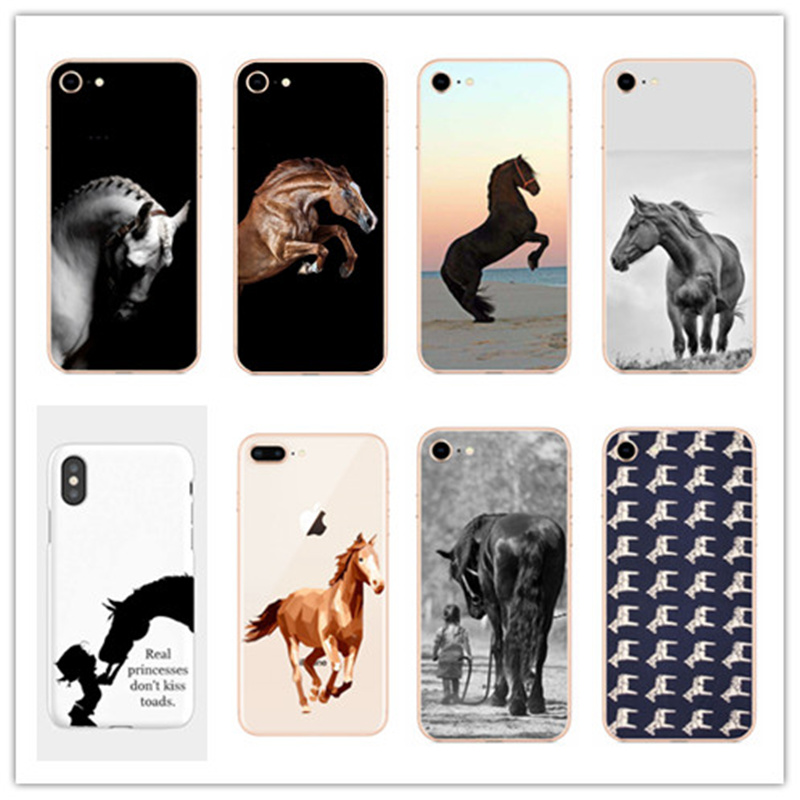 The Horse Animal Printed Soft TPU cover phone Matte plastic case For iphone 5 6 7 8 PLUS X XR XSMax 11Pro Fundas Coque Capa