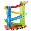 Modelo de Carro de Brinquedo de madeira para a Primeira Infância Puzzle De Madeira Orbital Carros Slide Glide Velocidade Educacional das Crianças Gift Set 1-4 Mini Carro