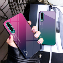 For Huawei P30 Pro Case Tempered Glass for Lite Gradient Color Back Cover Soft TPU Bumper