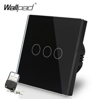 110 220V EU UK Wallpad Black Glass Touch LED Indicator 3 Gang 2 Way RF433 Smart Remote Control Light Intermediate Switches