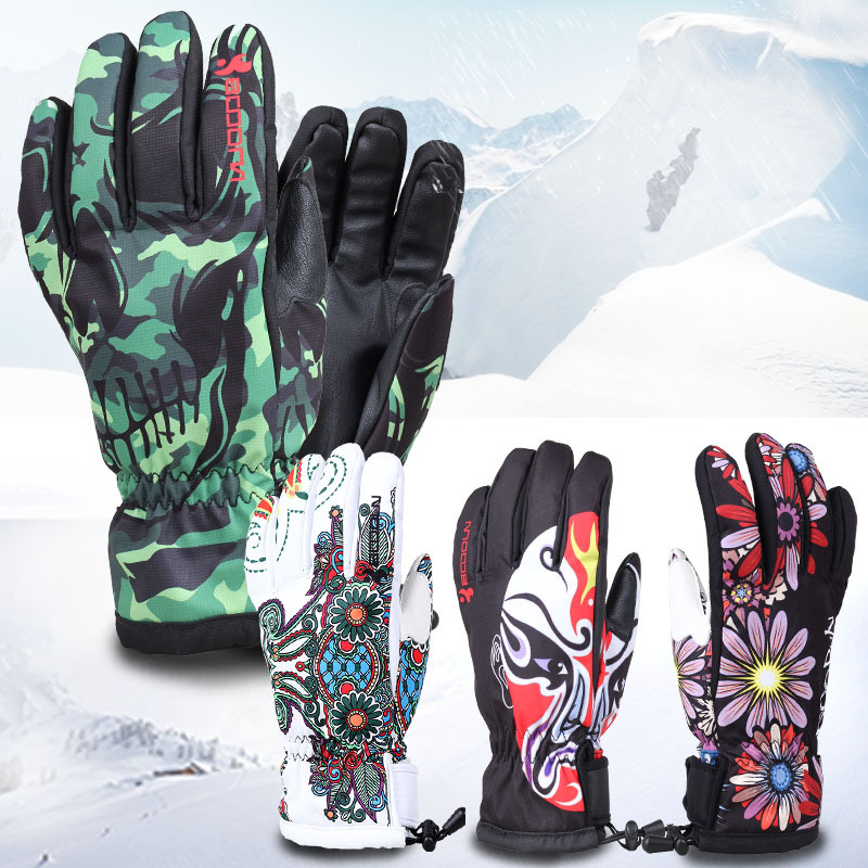 Unisex Printed Full Finger Skiing Gloves Windproof Waterproof Winter Gloves for Riding Climbing Professional Outdoor Sportswear