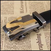 Free Shipping Fashion Classic Genuine Leather Men Belt Adjustable Size Automatic Buckle Belt Leather Belts For