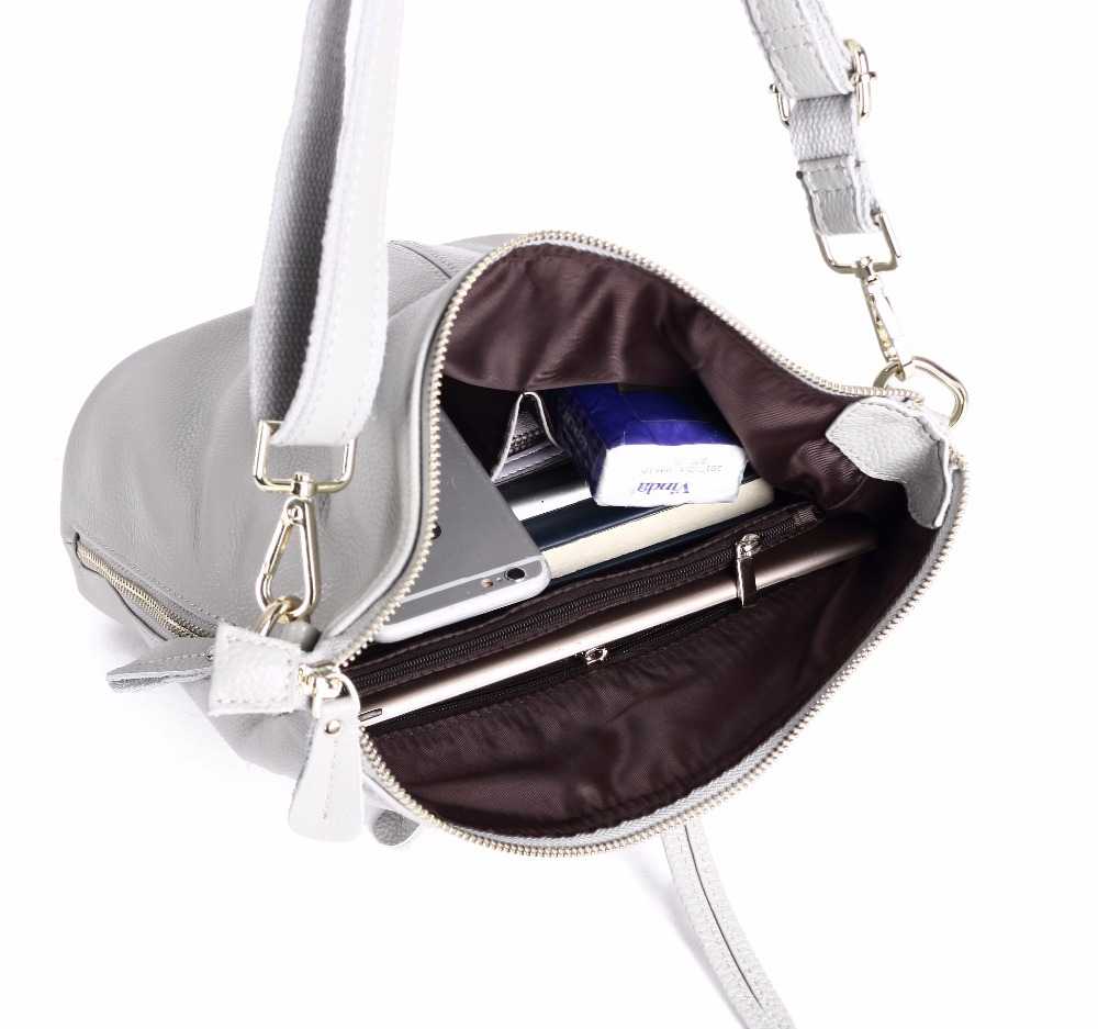 Image 5 - 100% Genuine Leather Small Women's Shoulder Bags Female Small Handbag Ladies' Cross Body Messenger White Beige Bag-in Shoulder Bags from Luggage & Bags