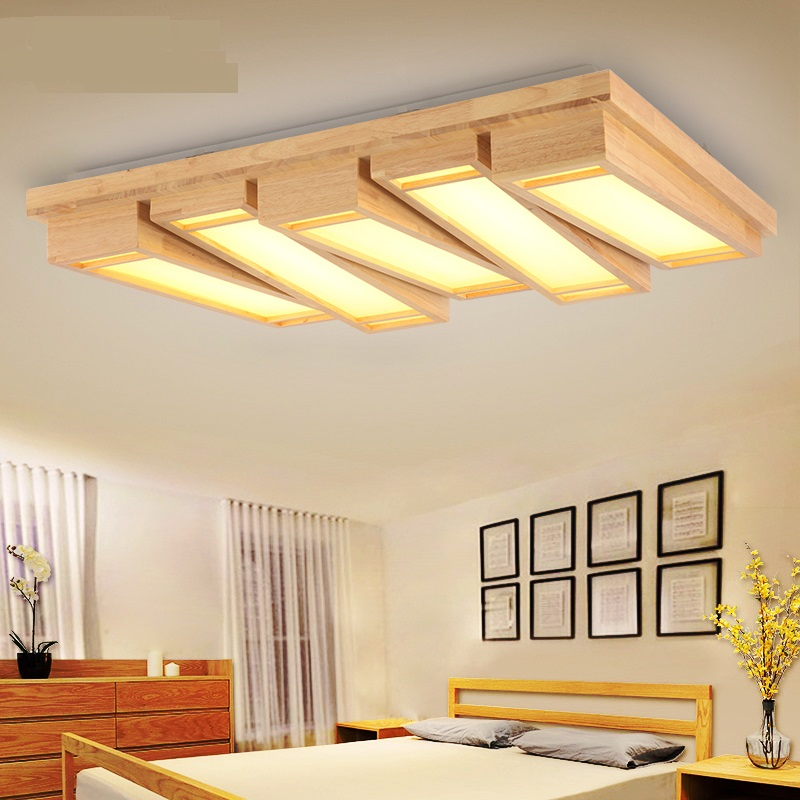 Solid Wooden LED Ceiling Lights Bedroom Ceiling Light Log Rectangular Study  LED Dimming Lamp Creative Tatami Room Lamps ZA
