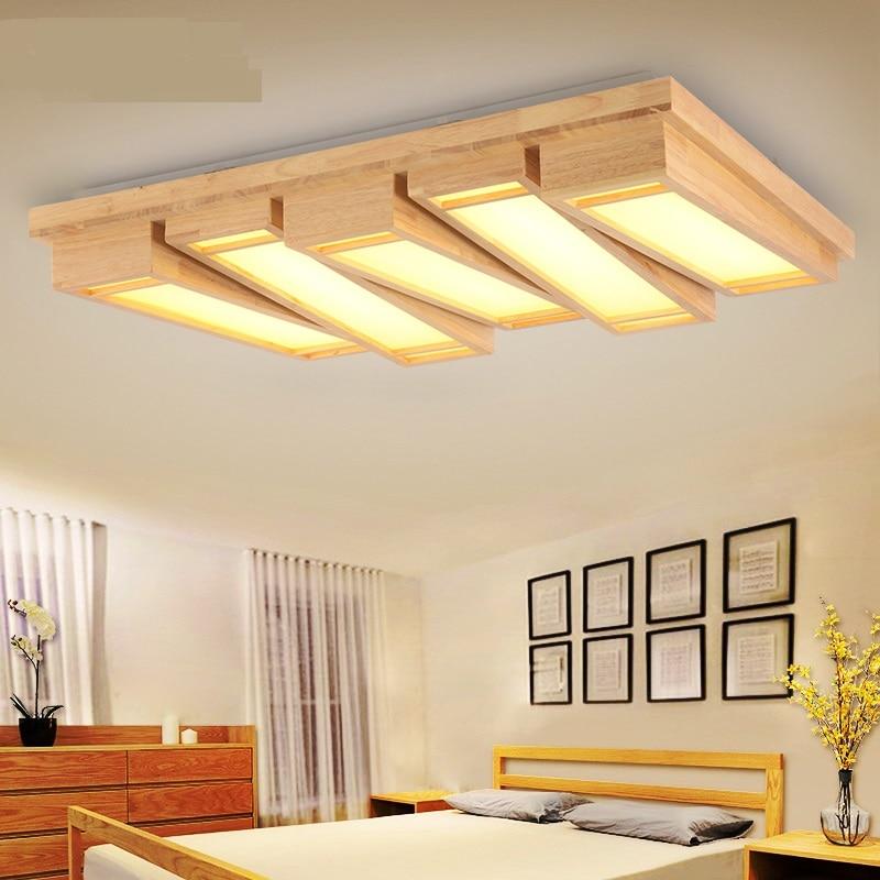 solid wooden led ceiling lights bedroom ceiling light log rectangular study led dimming lamp creative tatami room lamps za - Ceiling Lights For Bedroom