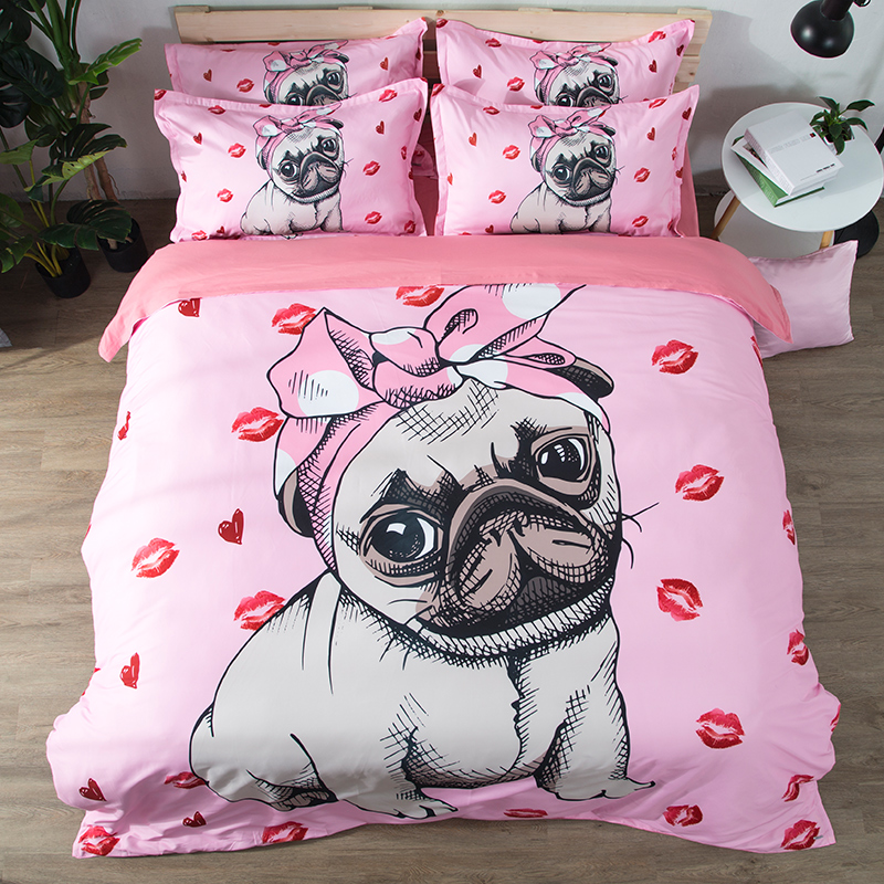 Bulldog Bedding Set pink and white Quilt Cover With Pillowcases Cartoon Pug Dog Home Textiles for Kids 3/4pcs lovely bedclothes