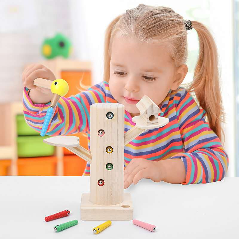 Baby Magnetic Catch Worm Game 3D Puzzle Wooden Early Childhood Educational Toy