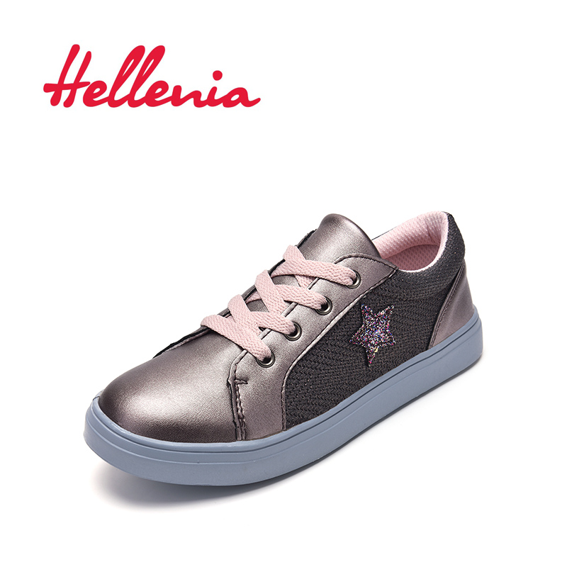 Hellenia 2019 Children Canvas Shoes Girls Sneakers Breathable Spring lace up Kids Casual Students zip grey pink size 31-35