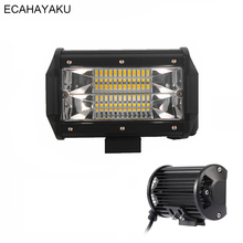 цены ECAHAYAKU 1x 5 Inch 72W 6000K Off road Led Work Light Bar Led Fog driving Light for jeep Truck SUV ATV 4x4 truck Flood Beam boat